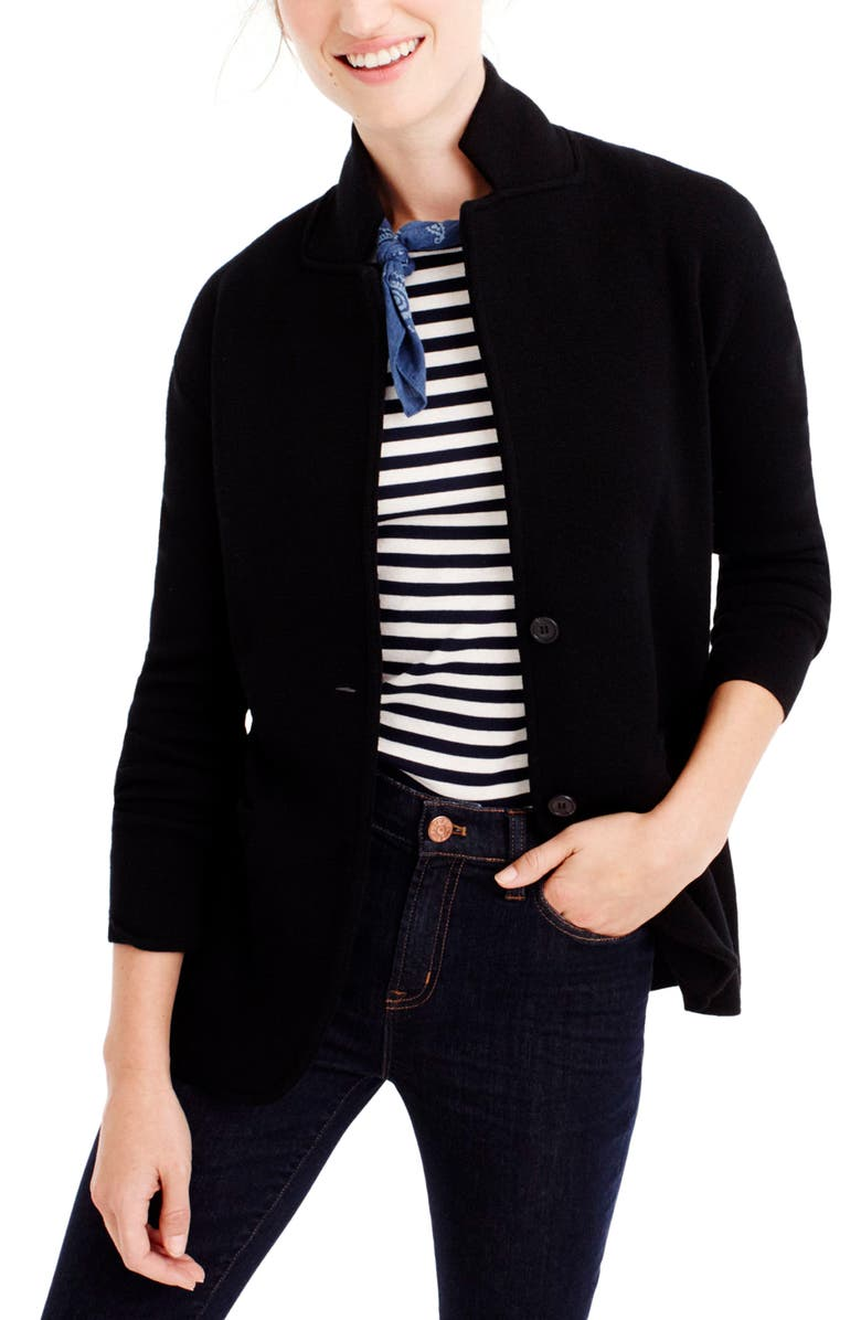 J.CREW Merino Sweater Blazer, Main, color, BLACK