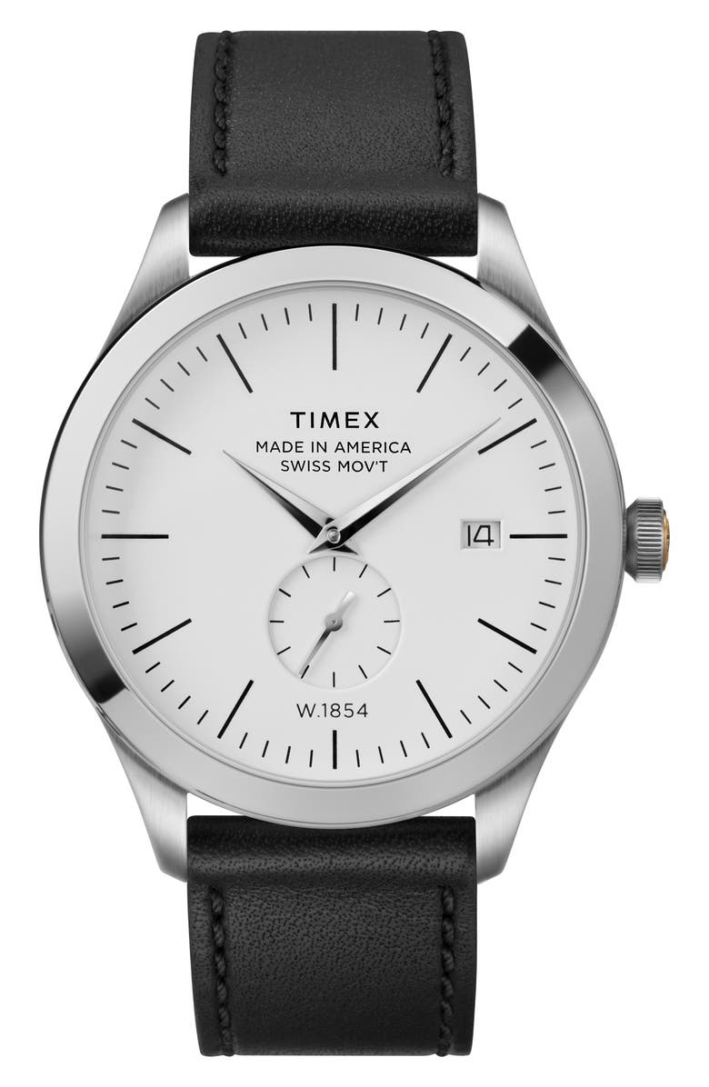 TIMEX<SUP>®</SUP> American Documentation Leather Strap Watch, 41mm, Main, color, NO_COLOR