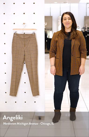 Lane Classic Plaid High Waist Wool Blend Trousers, sales video thumbnail