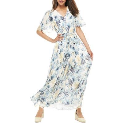Petite Gal Meets Glam Collection Kiki Leaf Print Chiffon Maxi Dress, Blue