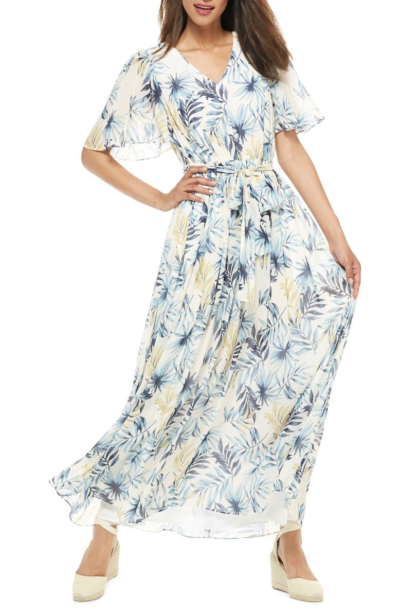 GAL MEETS GLAM COLLECTION Kiki Leaf Print Chiffon Maxi Dress, Main, color, BLUE/ GOLD