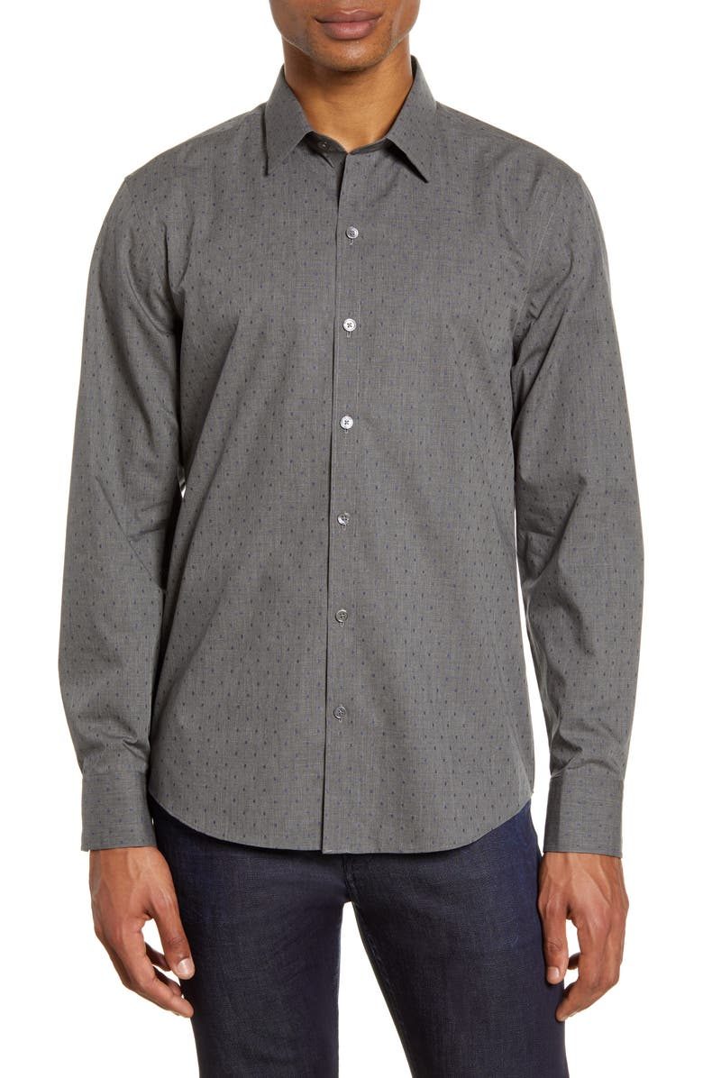 ZACHARY PRELL Ricketts Regular Fit Print Button-Up Shirt, Main, color, CHARCOAL
