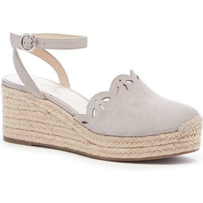Sole Society Calysa Ankle Strap Espadrille Wedge- Grey