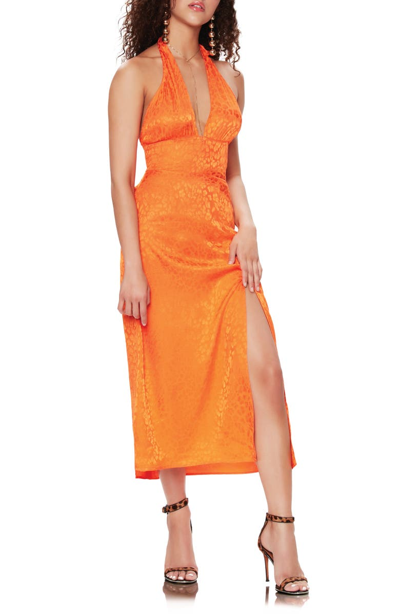 AFRM Soren Halter Dress, Main, color, ORANGE LEOPARD JACQUARD