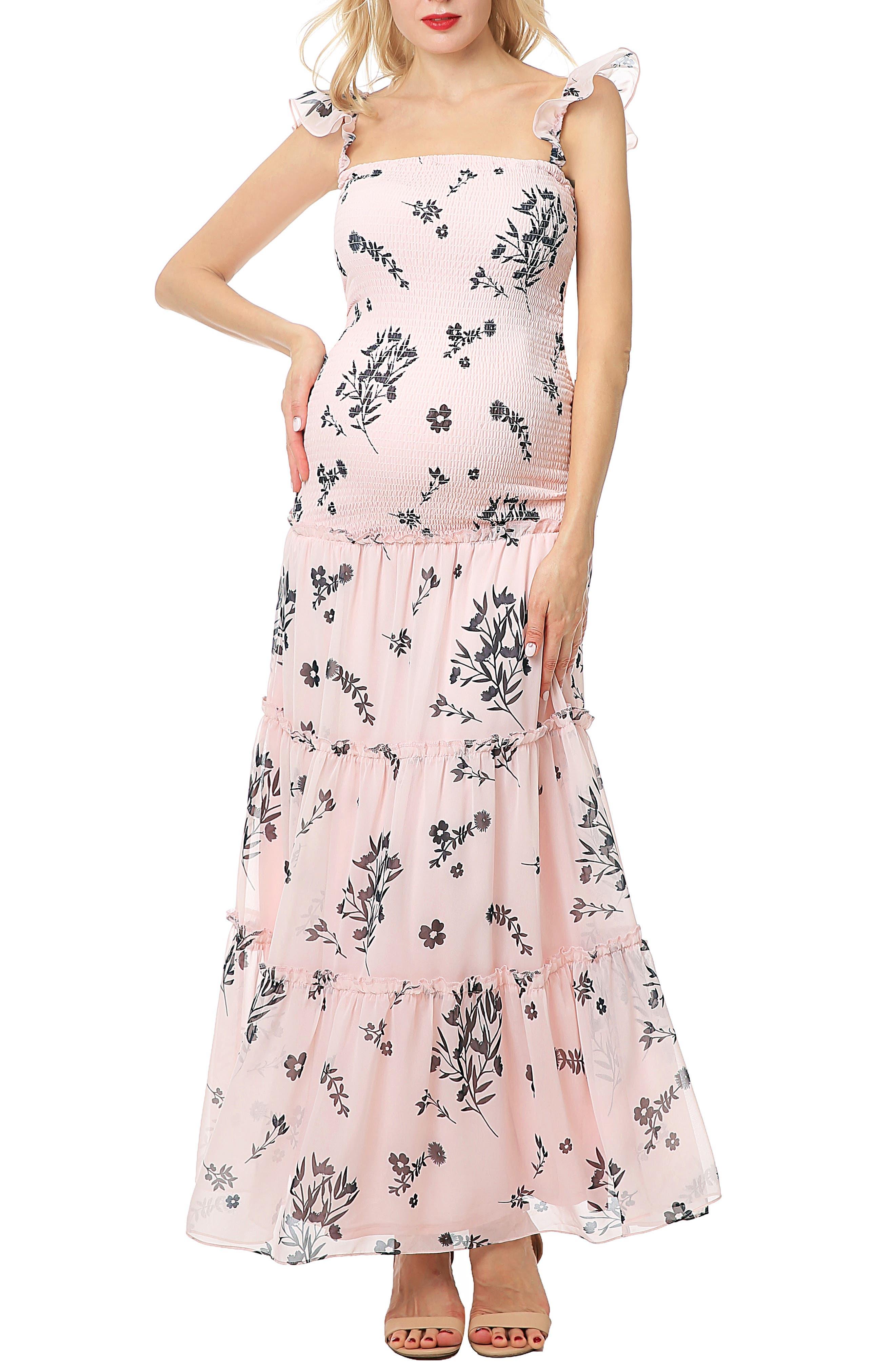Charity Smocked Maternity Maxi Dress