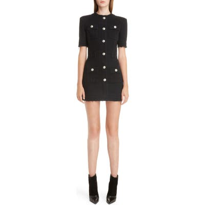 Balmain Button Detail Denim Minidress, 6 FR - Black