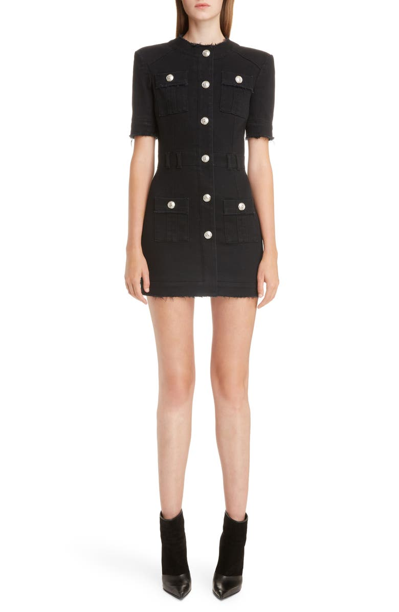 BALMAIN Button Detail Denim Minidress, Main, color, NOIR