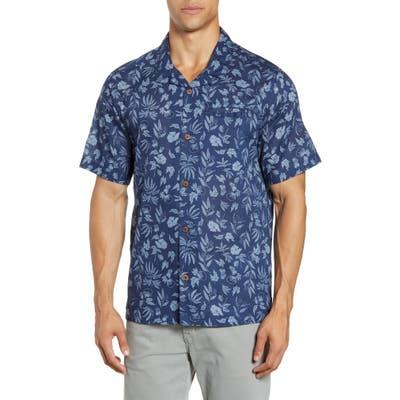 Patagonia Lightweight A/c Regular Fit Print Cotton & Hemp Short Sleeve Shirt, Blue