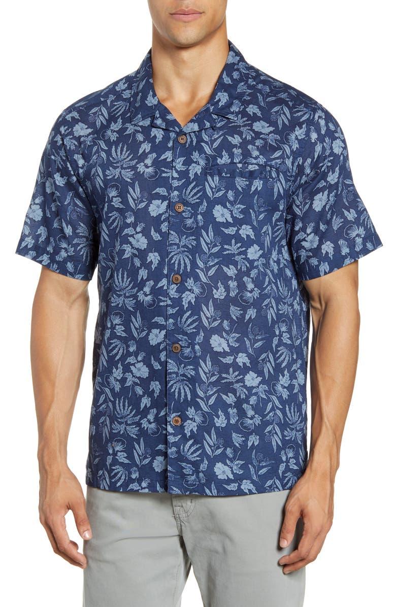 PATAGONIA Lightweight A/C<sup>®</sup> Regular Fit Print Cotton & Hemp Short Sleeve Shirt, Main, color, FIBER FLORA/ STONE BLUE