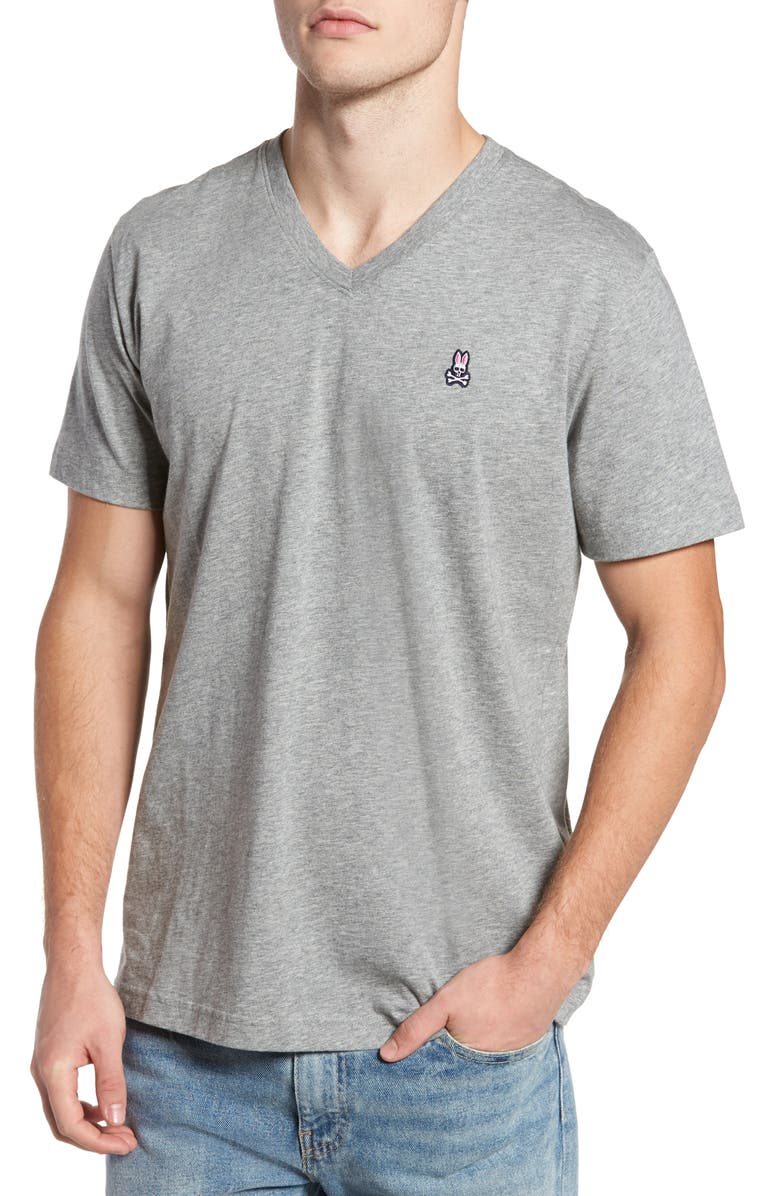 PSYCHO BUNNY V-Neck T-Shirt, Main, color, HEATHER GREY
