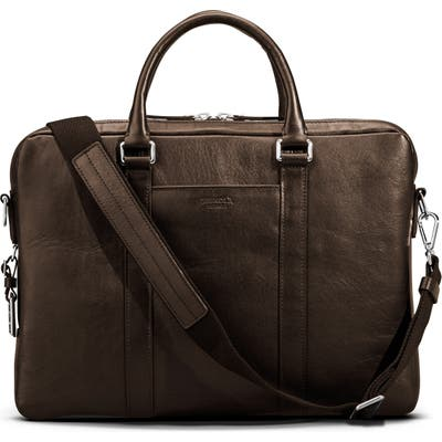 Shinola Signature Leather Computer Briefcase - Brown