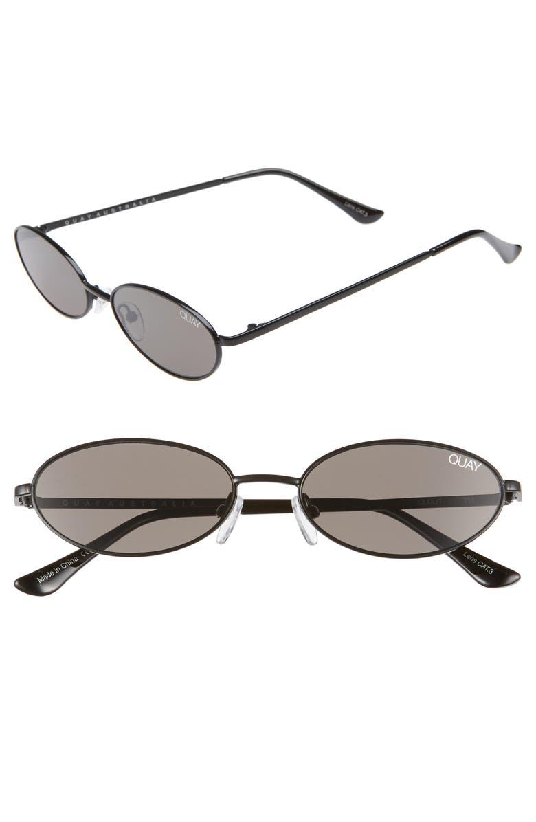 QUAY AUSTRALIA Clout 54mm Round Sunglasses, Main, color, 001