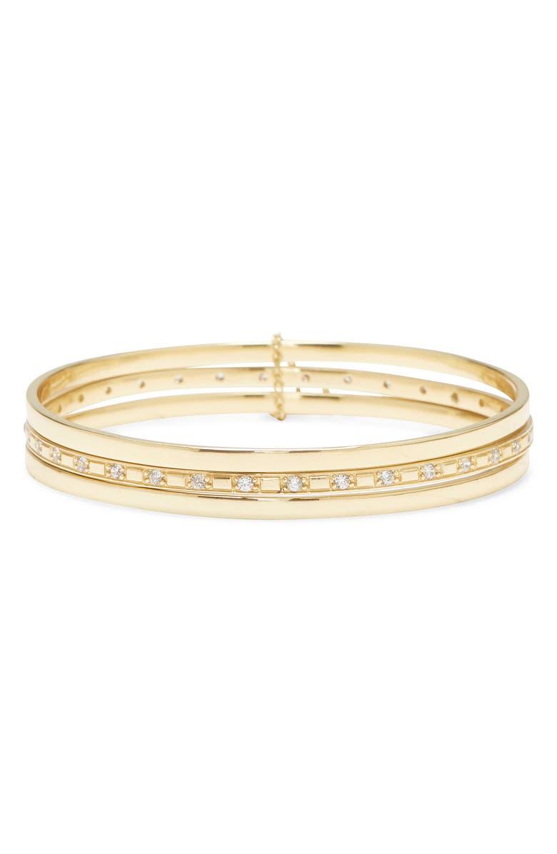 SOLE SOCIETY Set of 3 Bangle Bracelets, Main, color, GOLD/ CRYSTAL