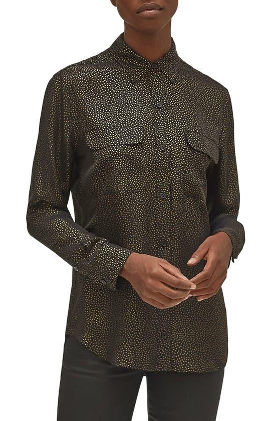 Equipment Women's Signature Silk Georgette Button-up Shirt In True Black Gold