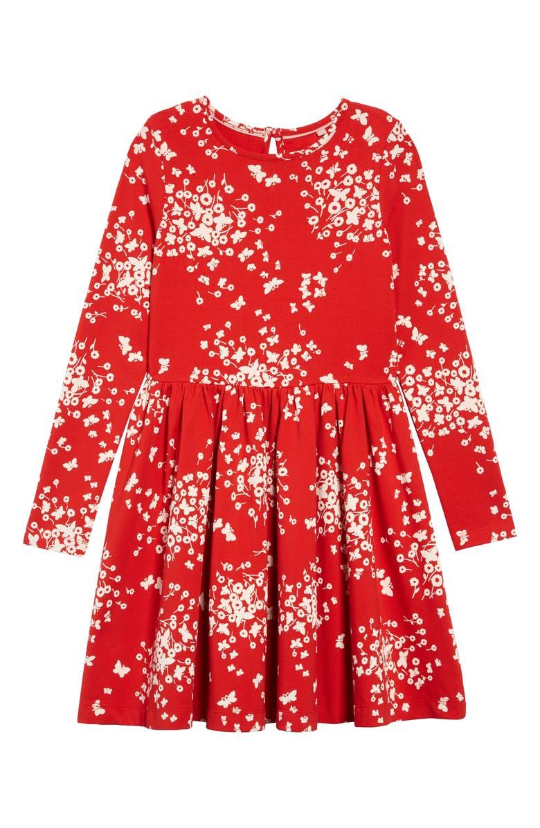 MINI BODEN Print Twirly Jersey Dress, Main, color, POPPADEW RED BUTTERFLY