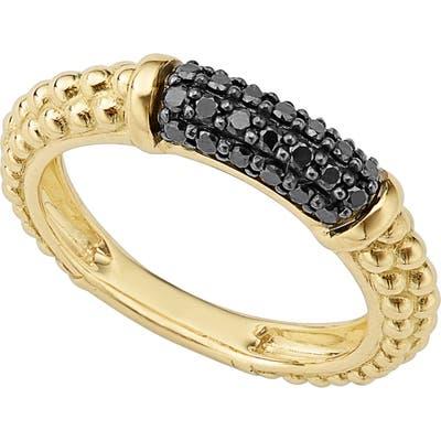 Lagos Gold & Black Caviar Black Diamond Pave Stacking Ring