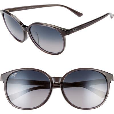 Maui Jim Water Lily 62Mm Polarizedplus2 Round Sunglasses - Translucent Grey/ Neutral Grey