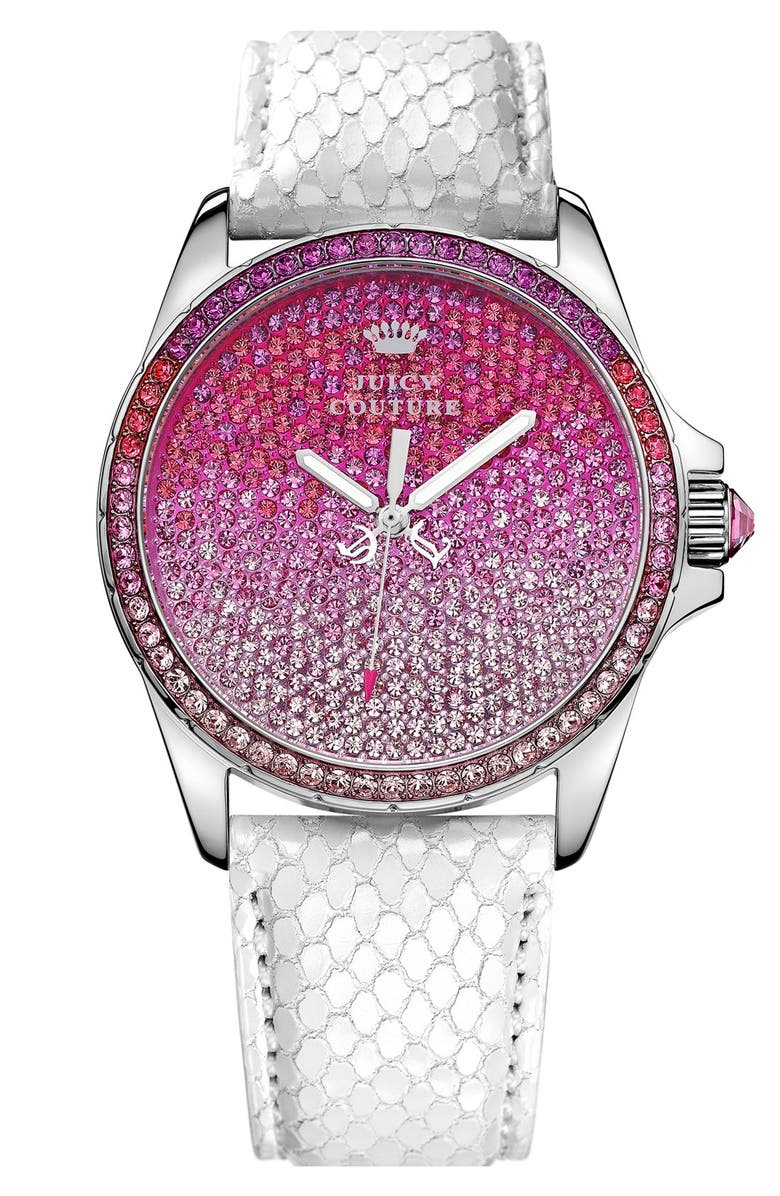 JUICY COUTURE 'Stella' Crystal Embellished Watch, 40mm, Main, color, 100