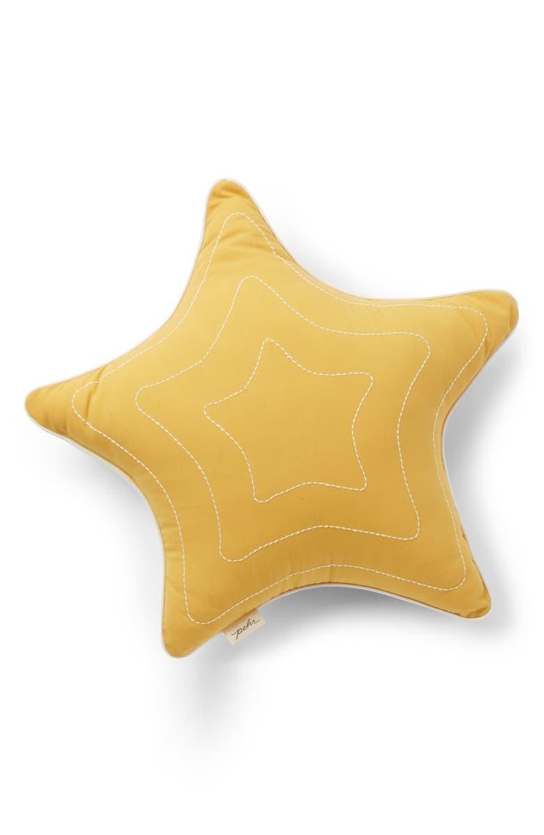PEHR Organic Cotton Star Pillow, Main, color, DARK YELLOW