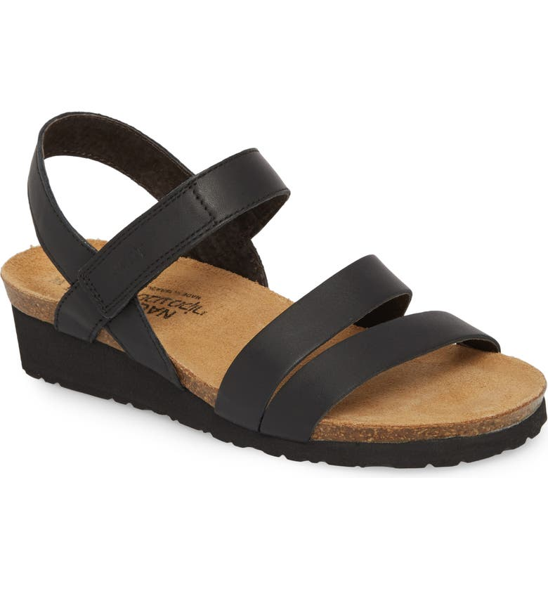 NAOT Kayla Wedge Sandal, Main, color, BLACK MATTE LEATHER