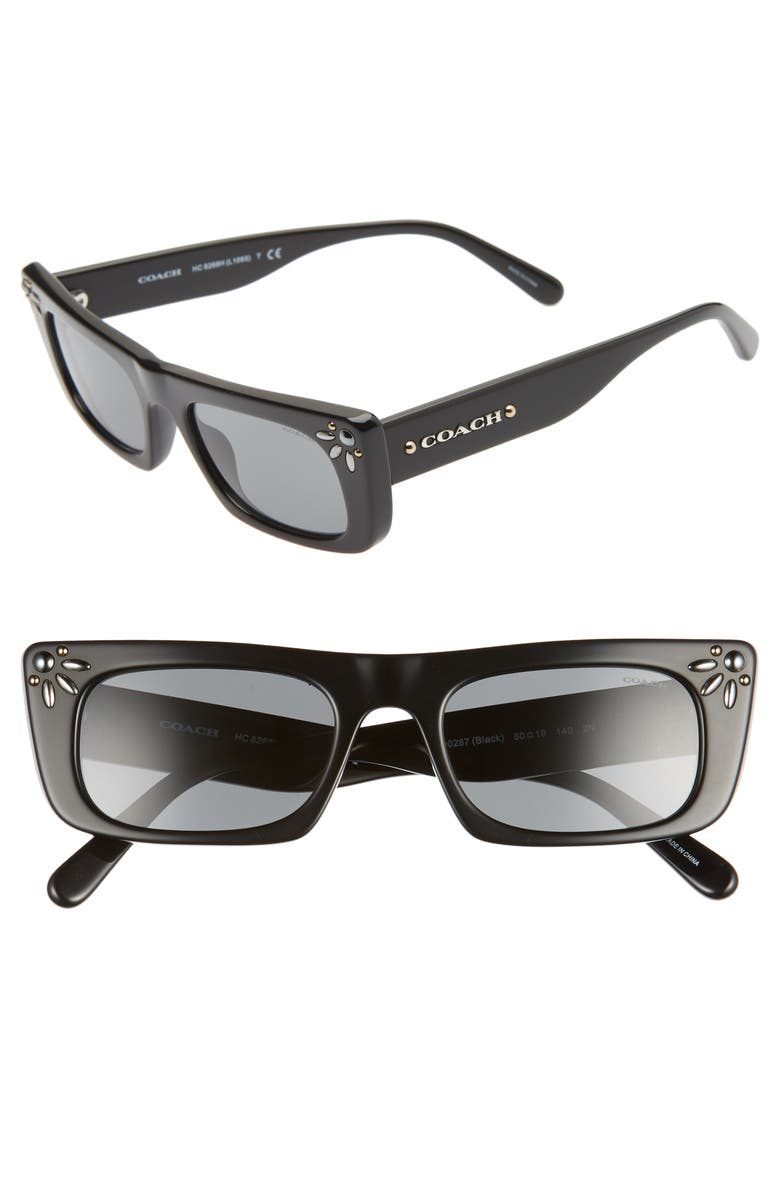 COACH 50mm Studded Rectangular Sunglasses, Main, color, BLACK/ BLACK SOLID