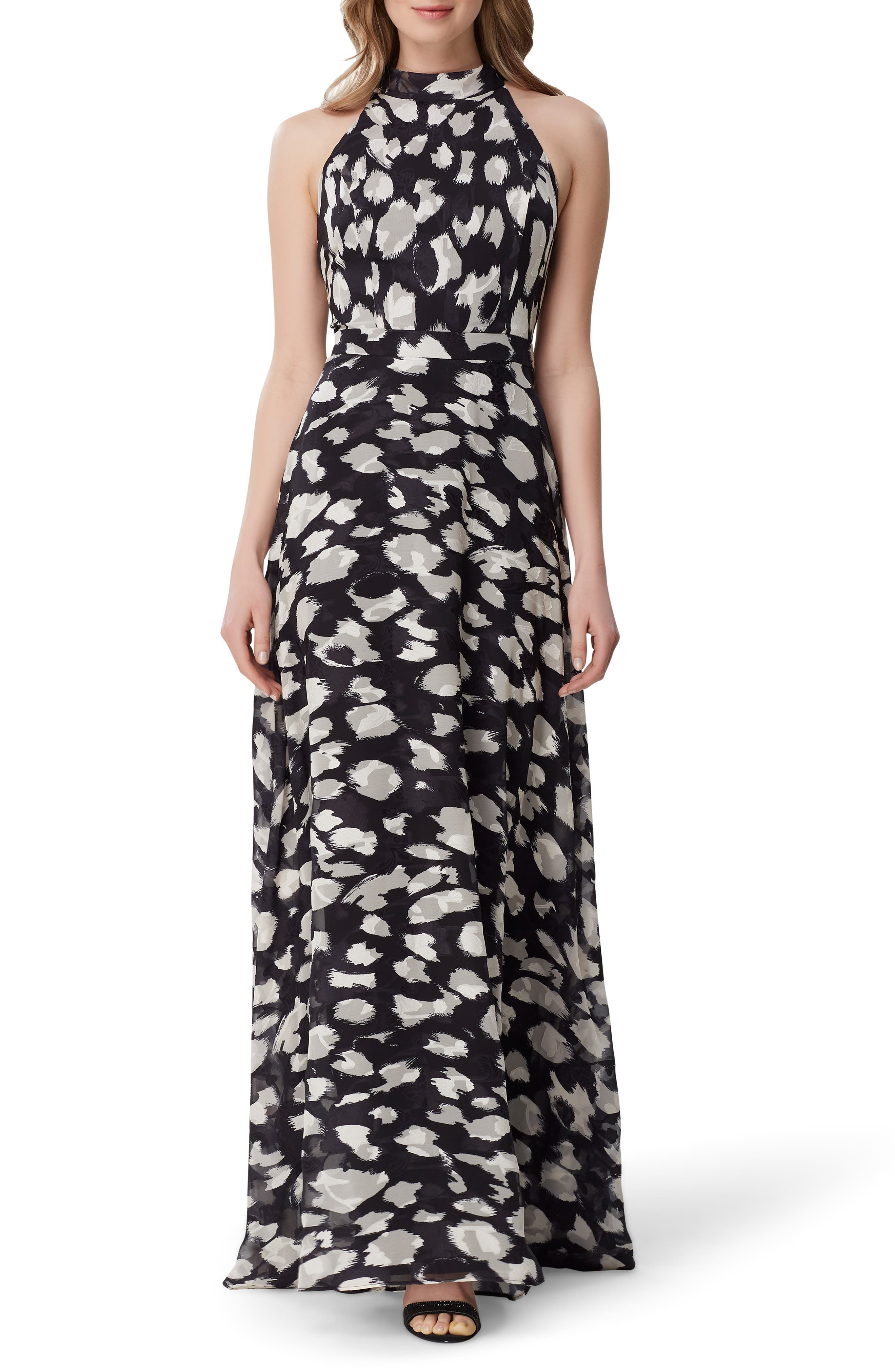 Tahari Animal Print Halter Neck Gown, Black