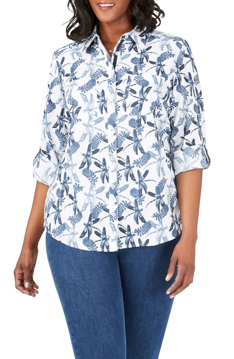 FOXCROFT Zoey in Dragonflies Button-Up Shirt, Main, color, BLUE JEAN