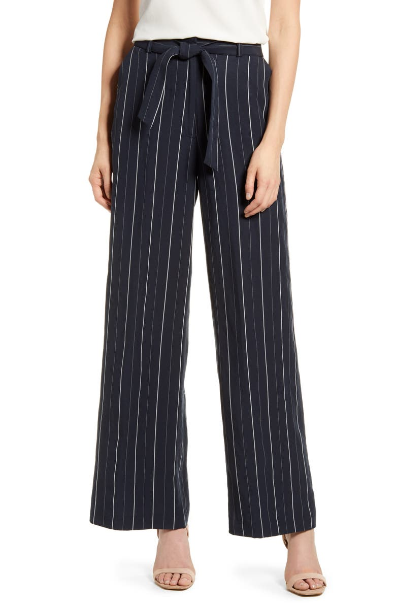CHELSEA28 Multistripe Tie Waist Wide Leg Pants, Main, color, NAVY STRIPE