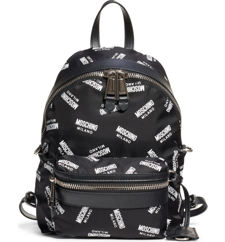 MOSCHINO Logo Nylon Backpack, Main, color, FANTASY PRINT BLACK