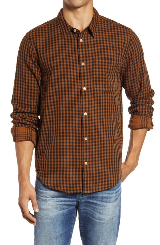 Madewell Gingham Check Double Weave Perfect Shirt In Dried Cedar/ Almost Black