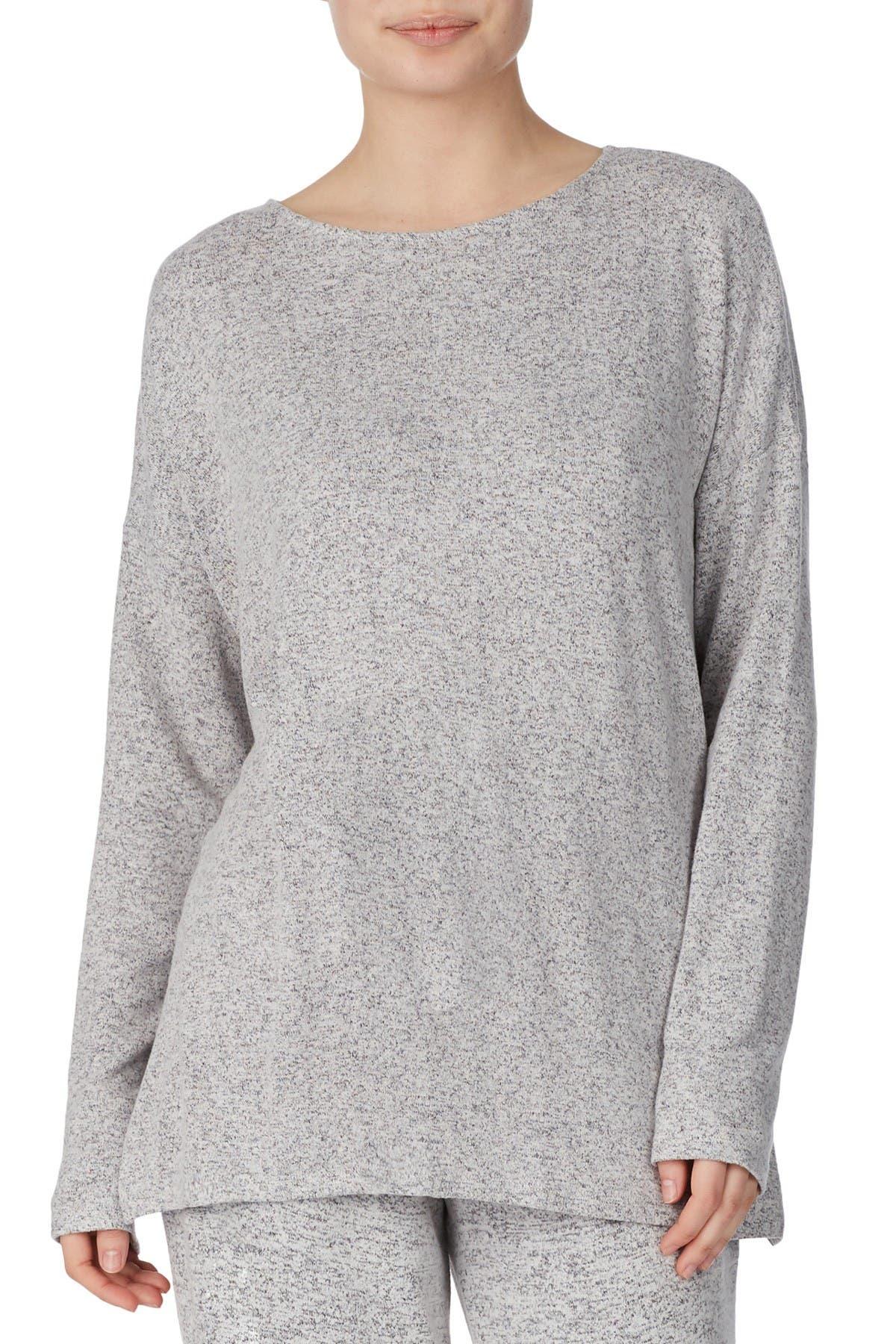 Image of Donna Karan Heathered Knit Lounge Pullover