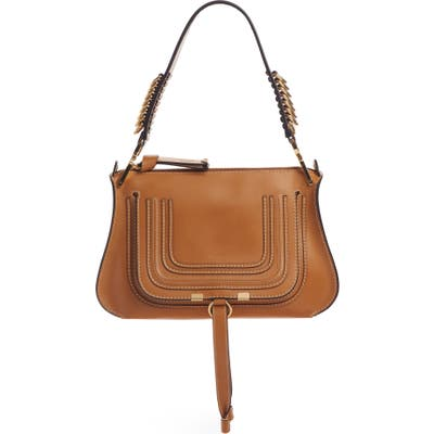 Chloe Marcie Leather Top Handle Bag - Brown