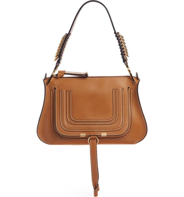 CHLOÉ Marcie Leather Top Handle Bag, Main, color, AUTUMNAL BROWN