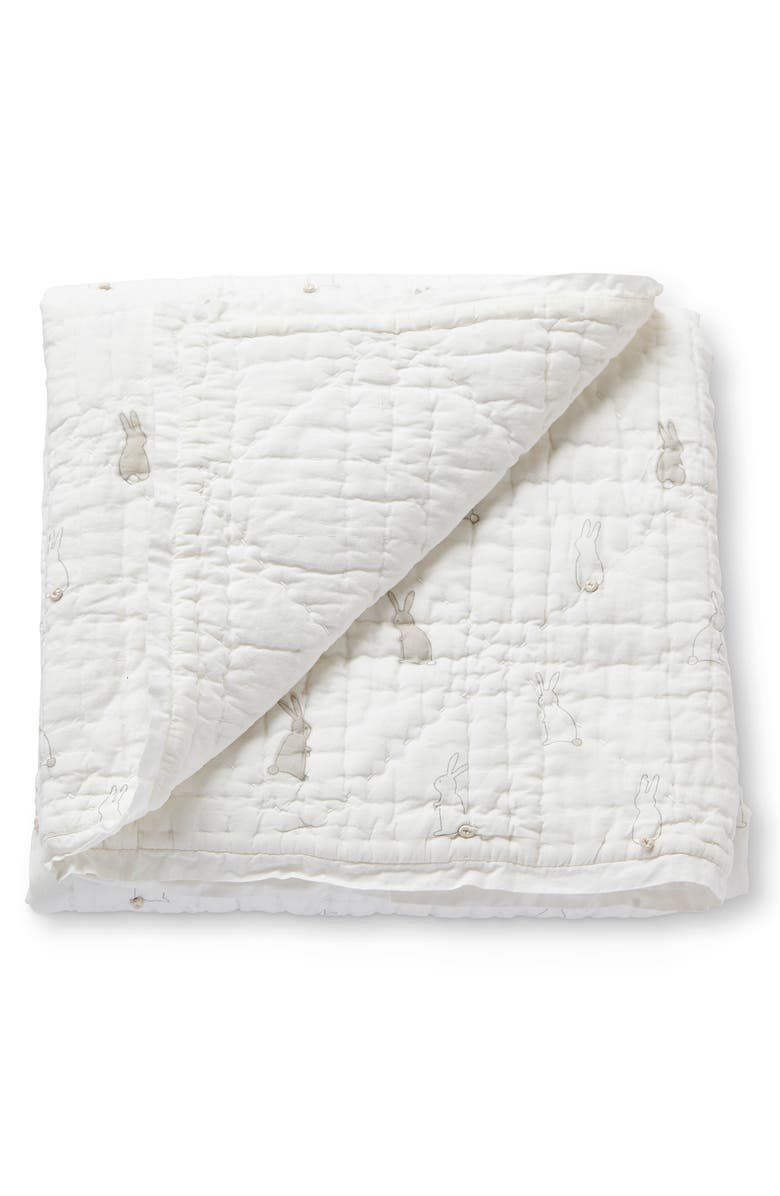 PEHR Bunny Hop Quilted Blanket, Main, color, 100