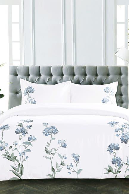 Image of Melange Home Full/Queen Hydrangea Embroidered Duvet Set - White