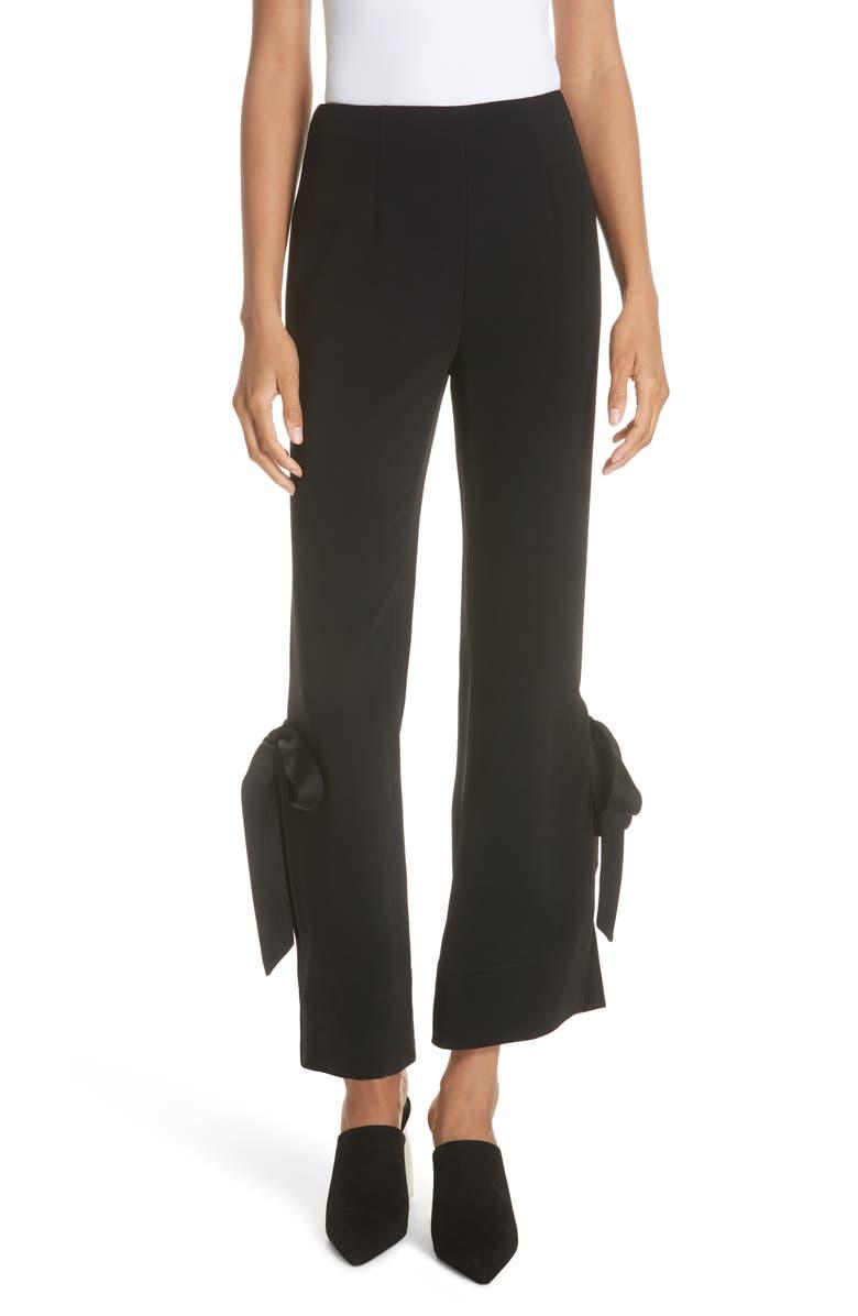 CINQ À SEPT Lou Ribbon Hem Pants, Main, color, BLACK