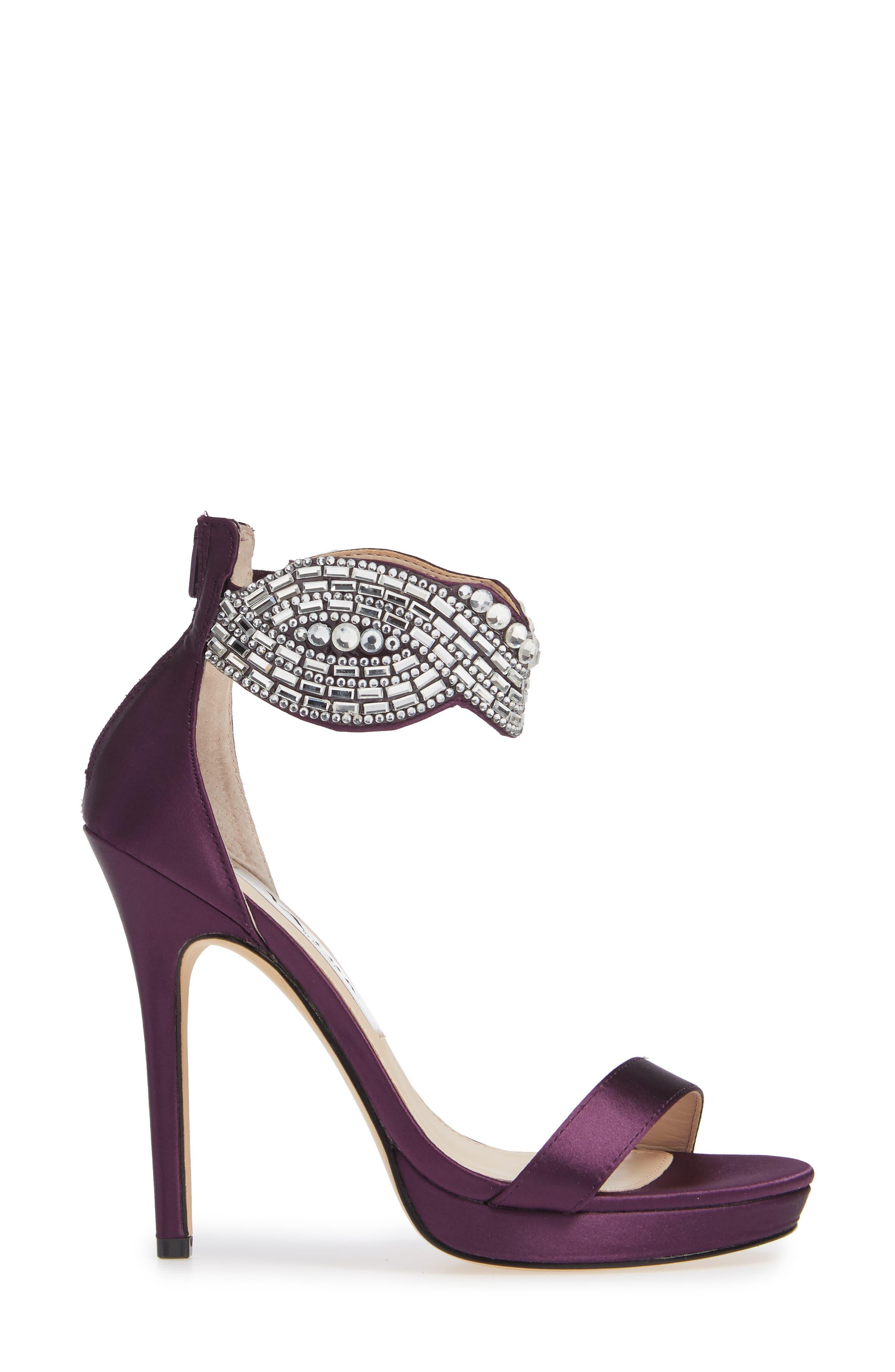 ,                             Fayth Jeweled Ankle Cuff Sandal,                             Alternate thumbnail 3, color,                             EGGPLANT SATIN