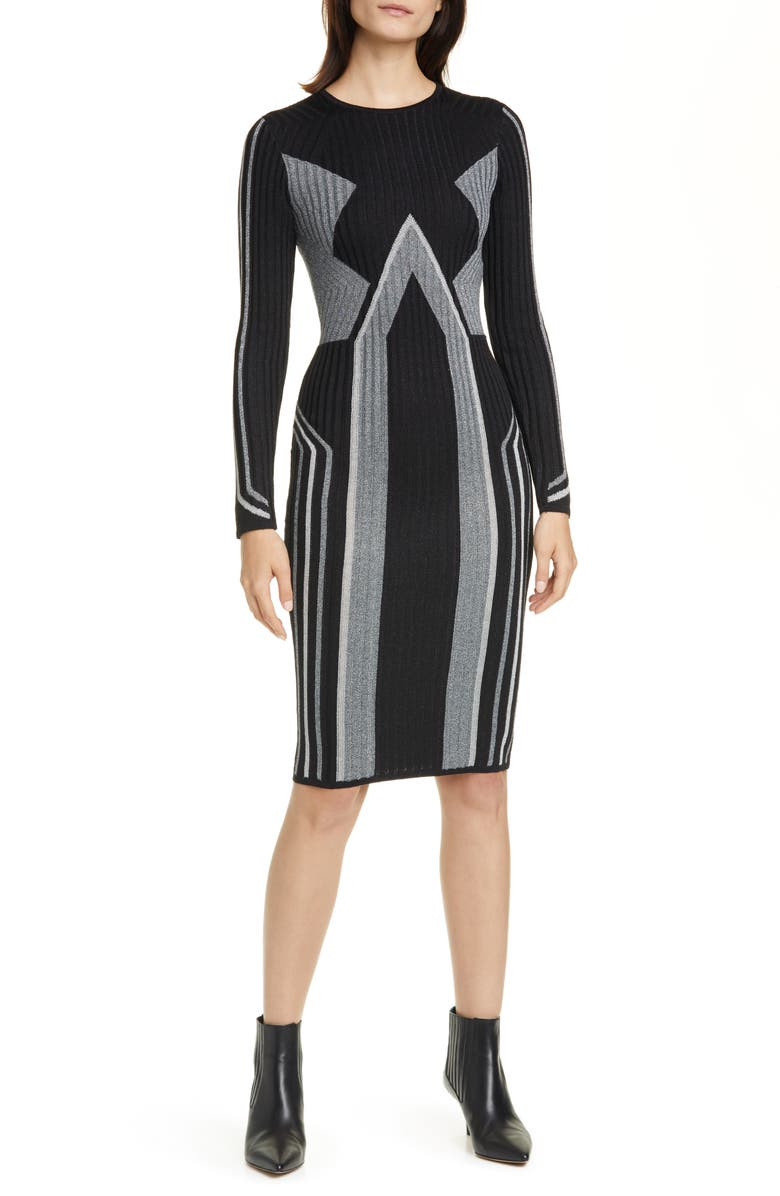 TED BAKER LONDON Hesiaa Long Sleeve Sweater Dress, Main, color, 001