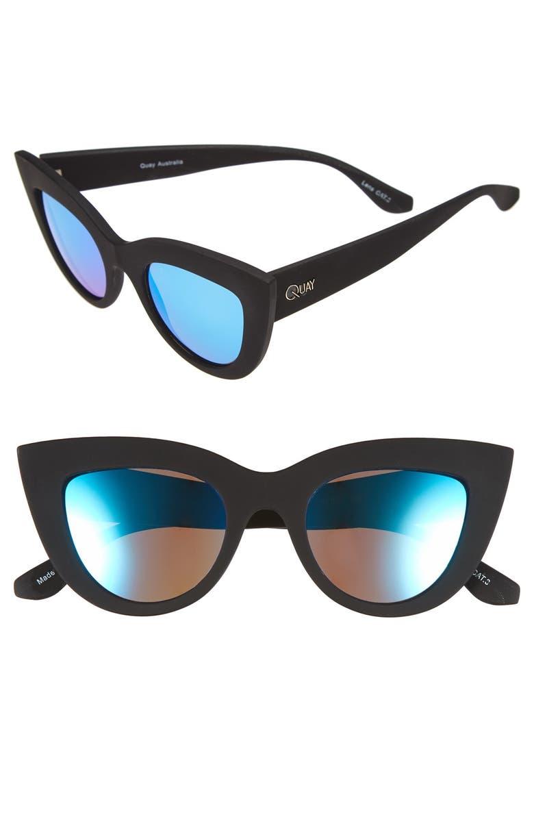 QUAY AUSTRALIA 'Kitti' 48mm Cat Eye Sunglasses, Main, color, 001
