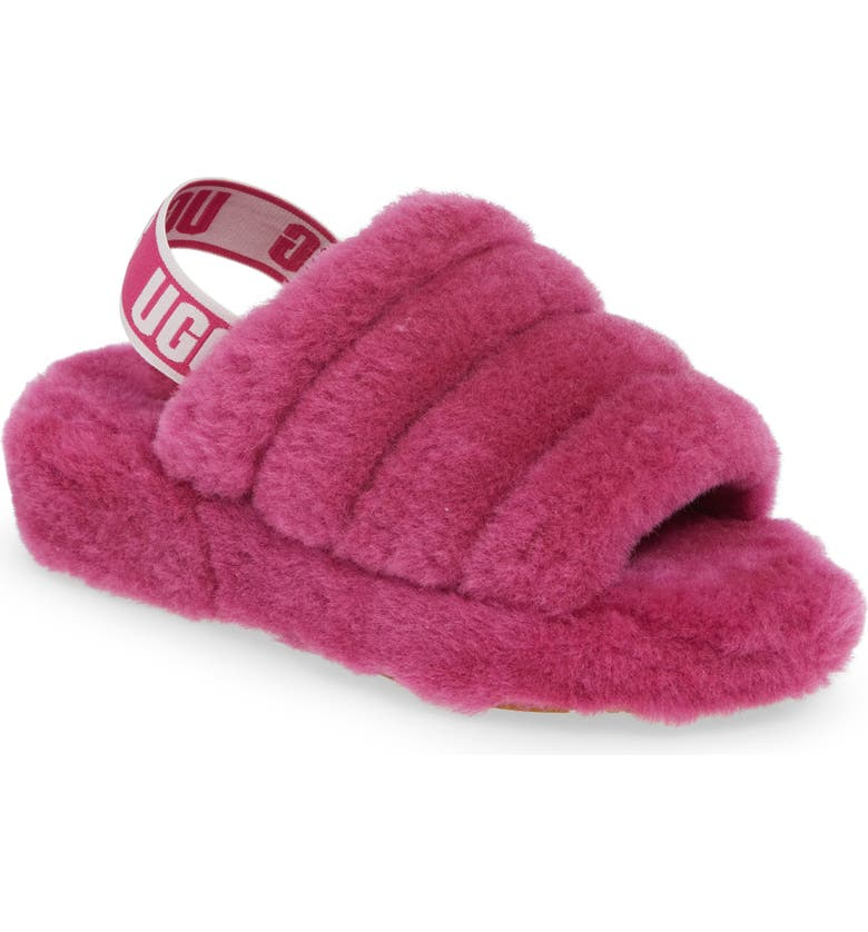UGG<SUP>®</SUP> Fluff Yeah Genuine Shearling Slipper, Main, color, FUCHSIA
