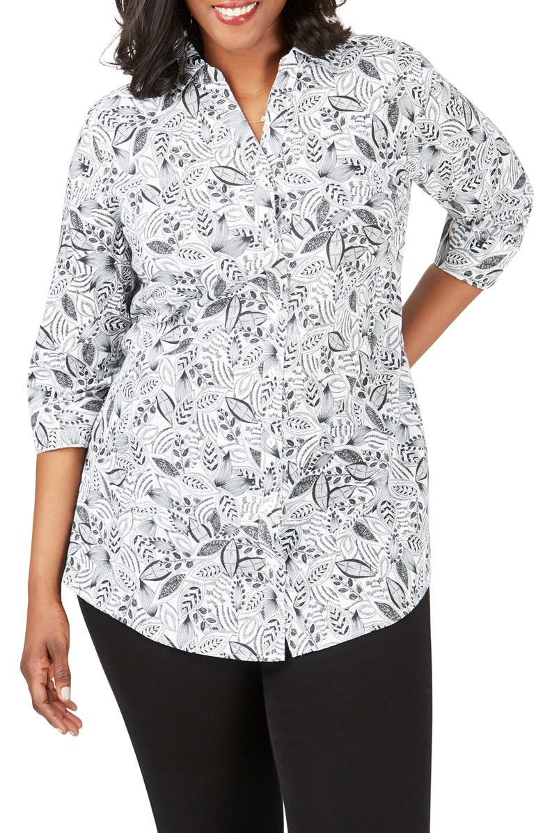 FOXCROFT Faith Leaf Print Wrinkle Free Tunic Shirt, Main, color, 001