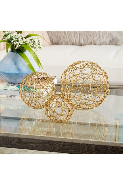 Image of CosmoLiving by Cosmopolitan Contemporary Gold Metal Geometric Sphere Sculpture - Set of 3