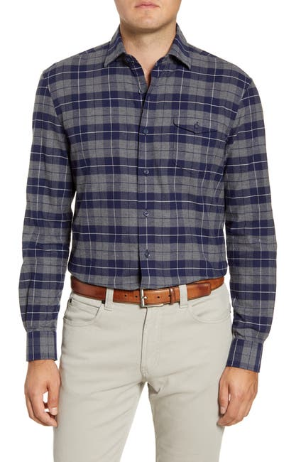 Image of Johnnie-O Wake Classic Fit Plaid Flannel Button-Up Shirt