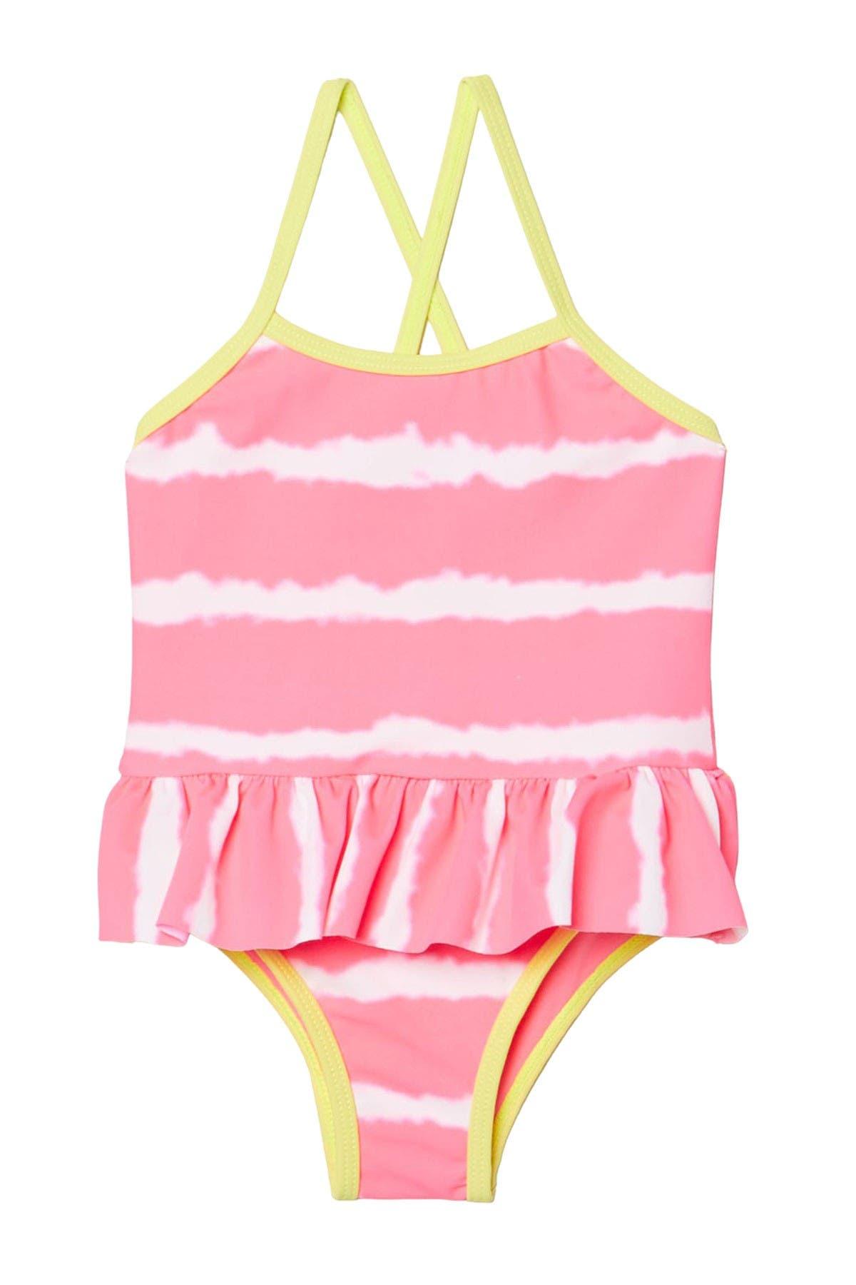 Image of Kensie Girl Tie-Dye Stripe Ruffle One-Piece Swimsuit