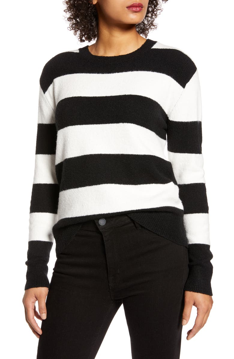 HALOGEN<SUP>®</SUP> x Atlantic-Pacific Stripe Bow Back Sweater, Main, color, BLACK- IVORY C POISE STRIPE