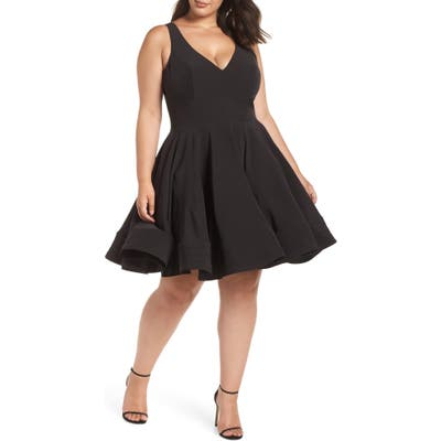 Plus Size MAC Duggal Fit & Flare Party Dress, Black