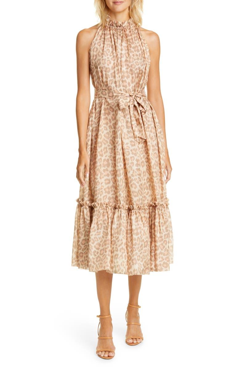 ZIMMERMANN Kirra Leopard Print Ruffle Silk Midi Dress, Main, color, TAUPE LEOPARD