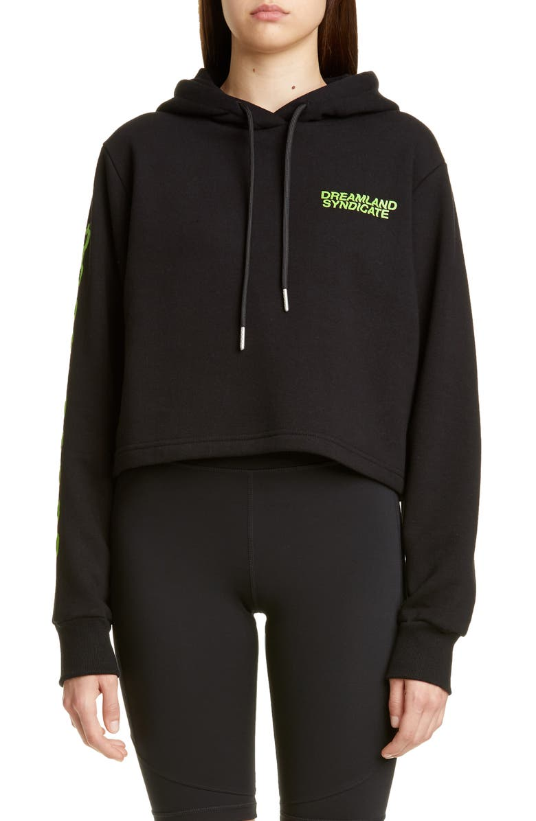 DREAMLAND SYNDICATE Graphic Crop Hoodie, Main, color, 001