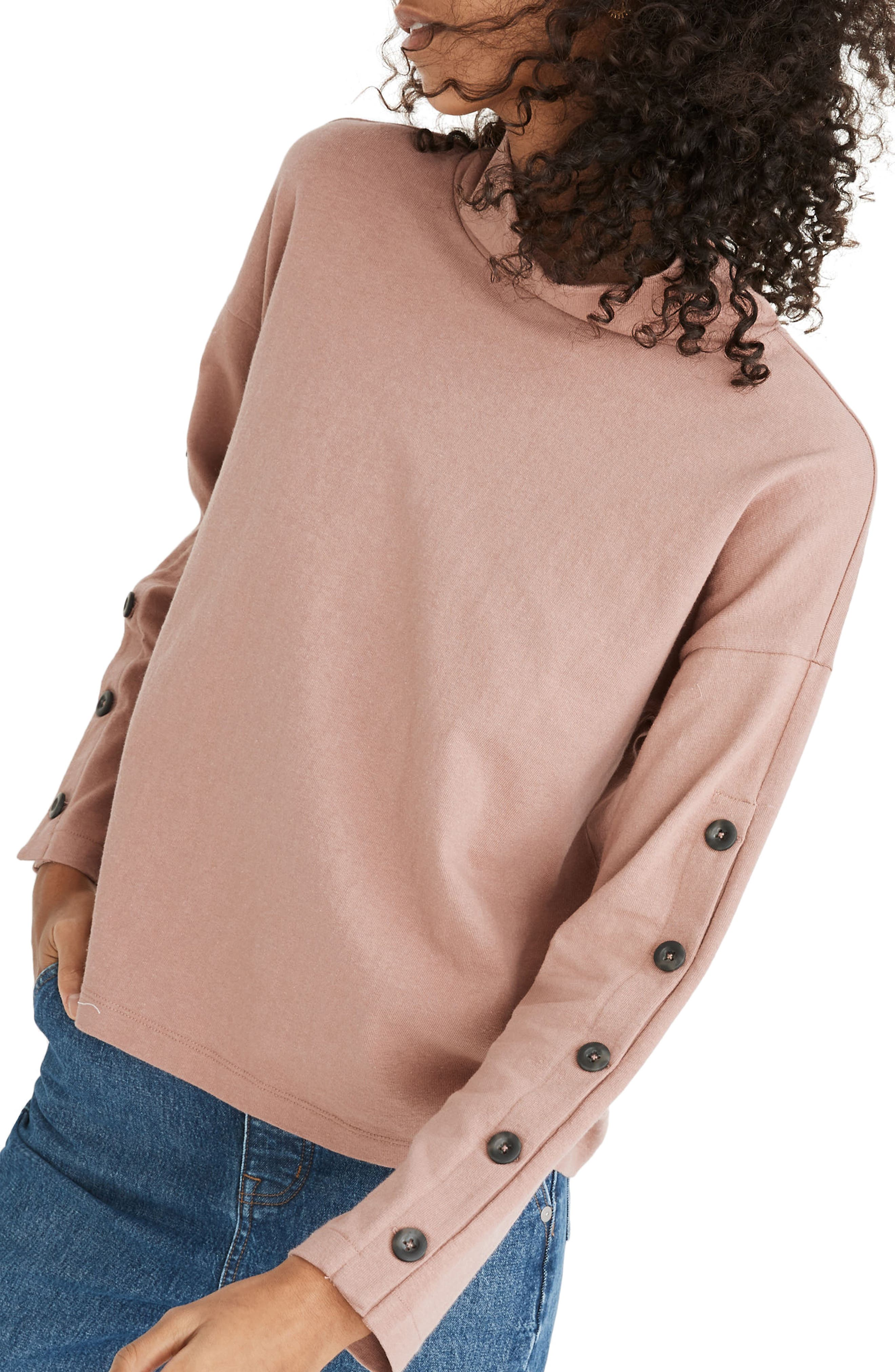 Madewell BUTTON SLEEVE ORGANIC COTTON TURTLENECK TOP