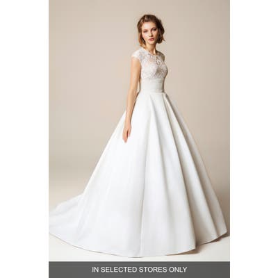 Jesus Peiro Lace Cap Sleeve Open Back Wedding Dress, Size IN STORE ONLY - White